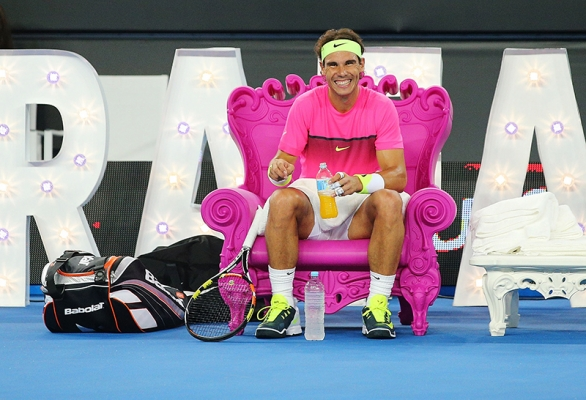 Rafael Nadal seated on Queen of Love chair