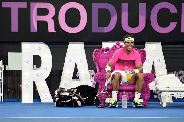 crowd pleaser Rafael Nadal seated on Queen of Love chair